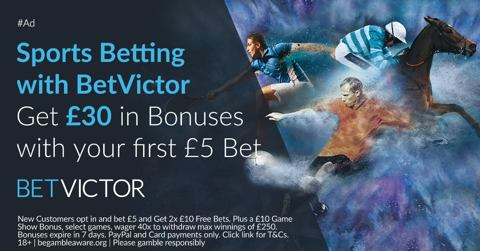 BetVictor new customer welcome promo Bet 5 Get 30