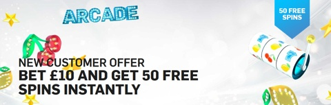 betfair arcade 50 free spins