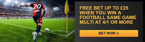 Same game multi free bet promotion