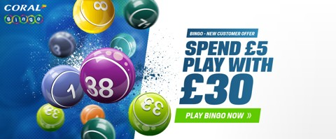 bingo new customer welcome bonus bet 5 get 30
