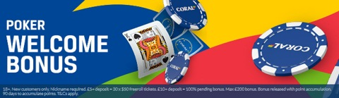 poker new customer welcome bonus bet 10 get 30