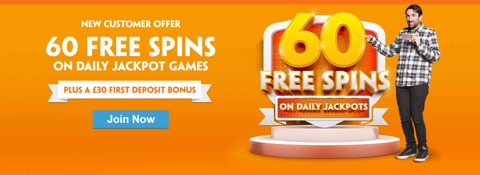 60 free spins new customer welcome promo