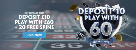 casino bet 10 get 60 20 free spins new customer
